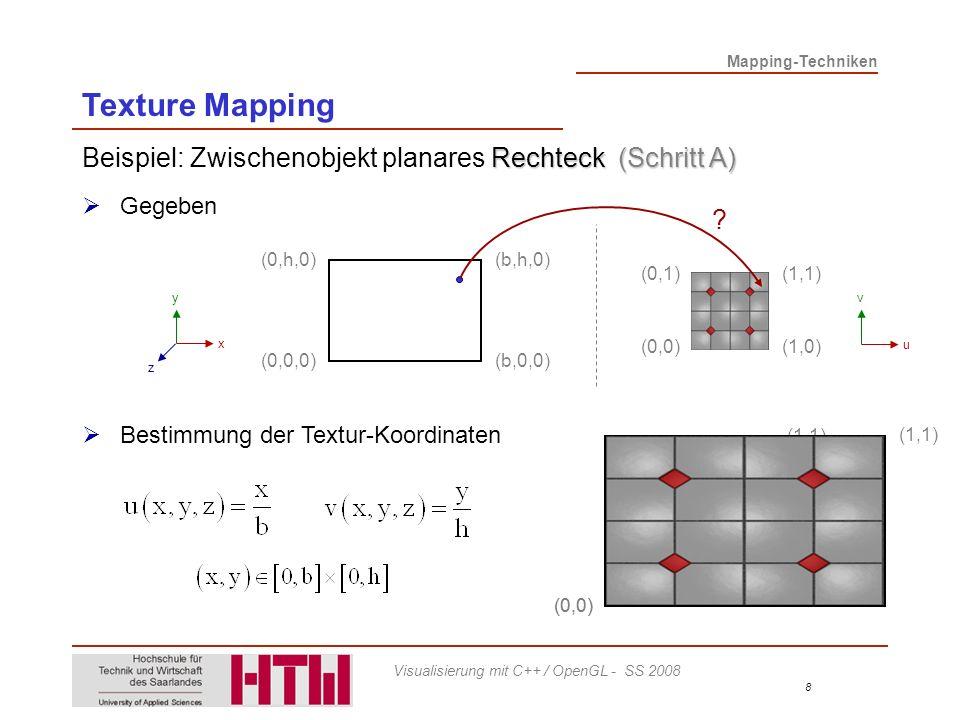 Mapping-Techniken 9 Visualisierung mit C++ / OpenGL - SS 2008 Beispiel: Zwischenobjekt Kugel Kugelkoordinaten: mit: Abbildung planares Rechteck auf Kugel Verzerrungen Daher: Einschränkung auf Teilkugel Bestimmung der Textur-Koordinaten (Bsp.) x y z r Texture Mapping