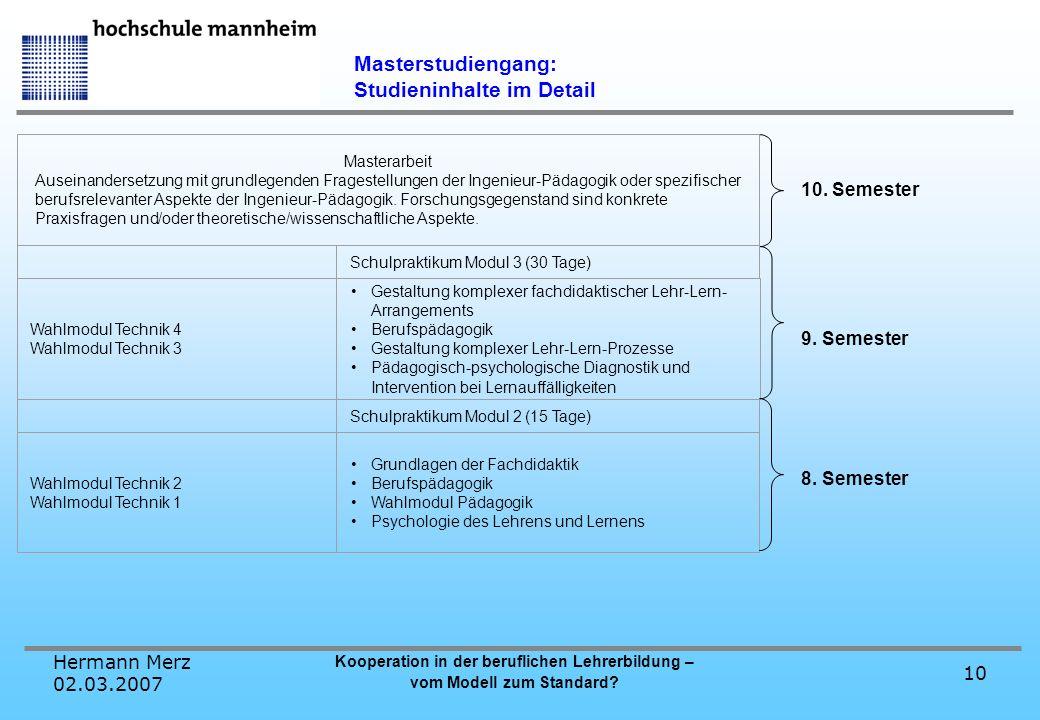 Hermann Merz 02.03.2007 Kooperation in der beruflichen Lehrerbildung – vom Modell zum Standard? 10 Masterstudiengang: Studieninhalte im Detail 10. Sem