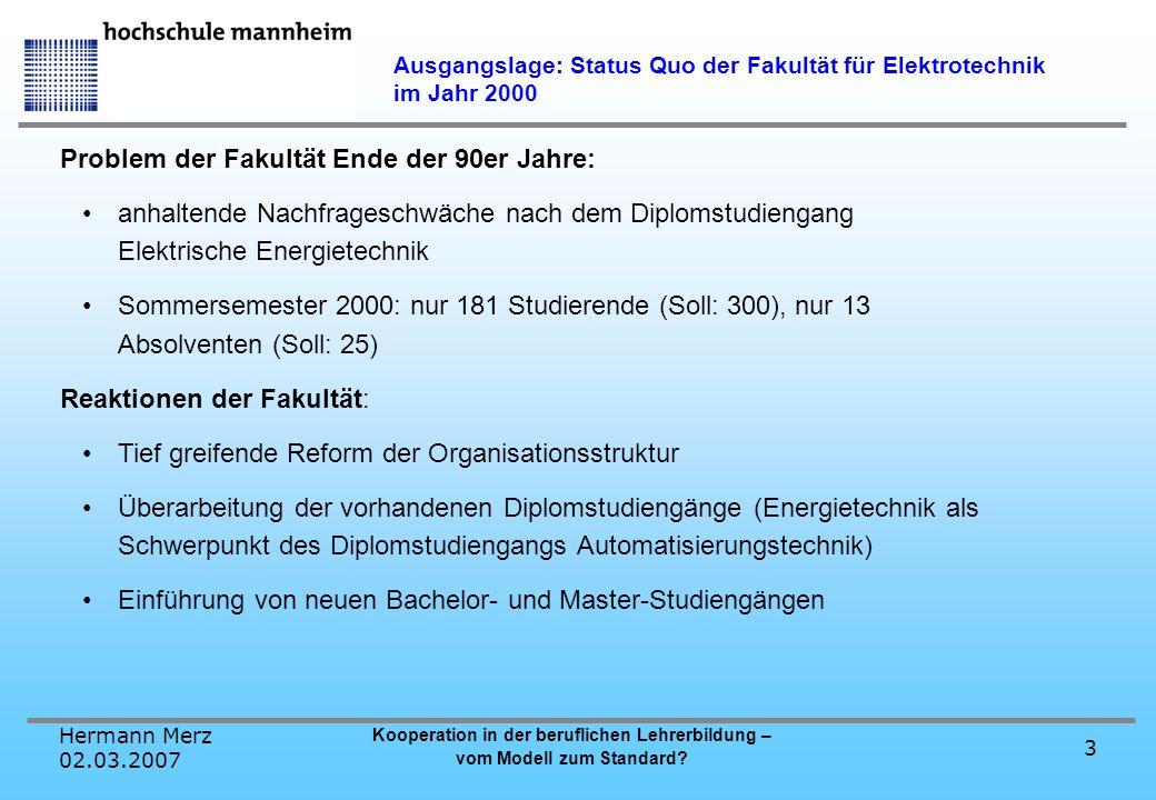 Hermann Merz 02.03.2007 Kooperation in der beruflichen Lehrerbildung – vom Modell zum Standard? 3 Ausgangslage: Status Quo der Fakultät für Elektrotec