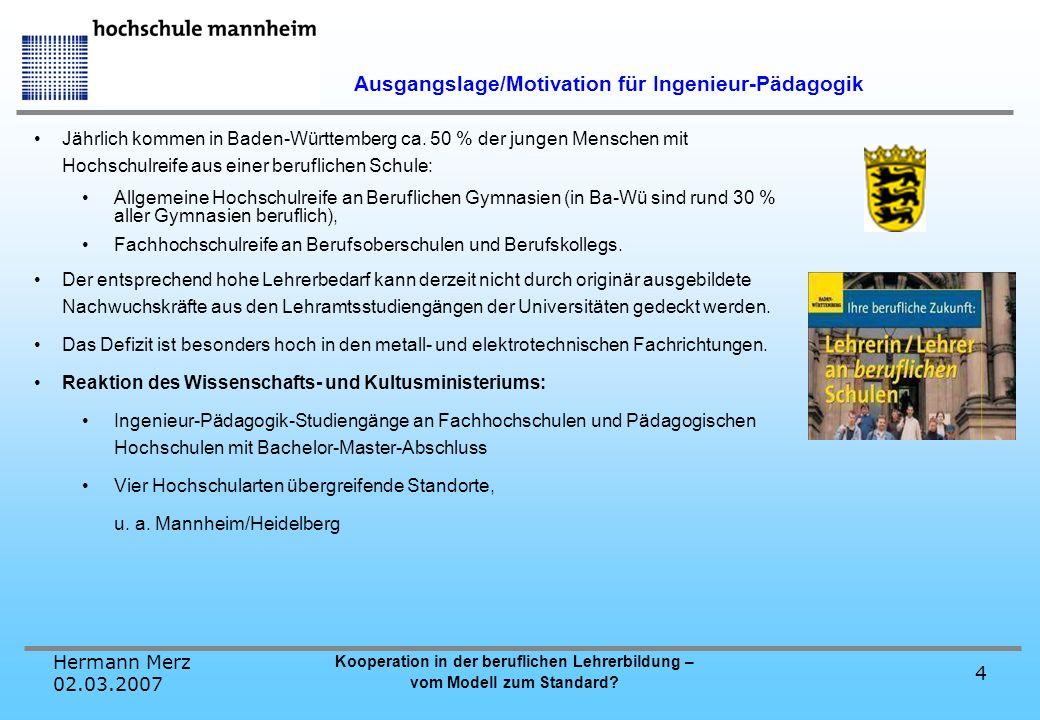 Hermann Merz 02.03.2007 Kooperation in der beruflichen Lehrerbildung – vom Modell zum Standard? 4 Jährlich kommen in Baden-Württemberg ca. 50 % der ju