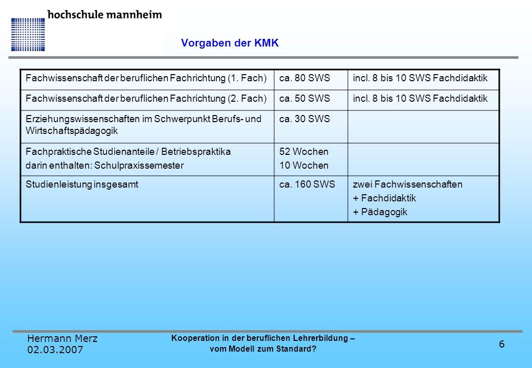 Hermann Merz 02.03.2007 Kooperation in der beruflichen Lehrerbildung – vom Modell zum Standard? 6 Vorgaben der KMK Fachwissenschaft der beruflichen Fa