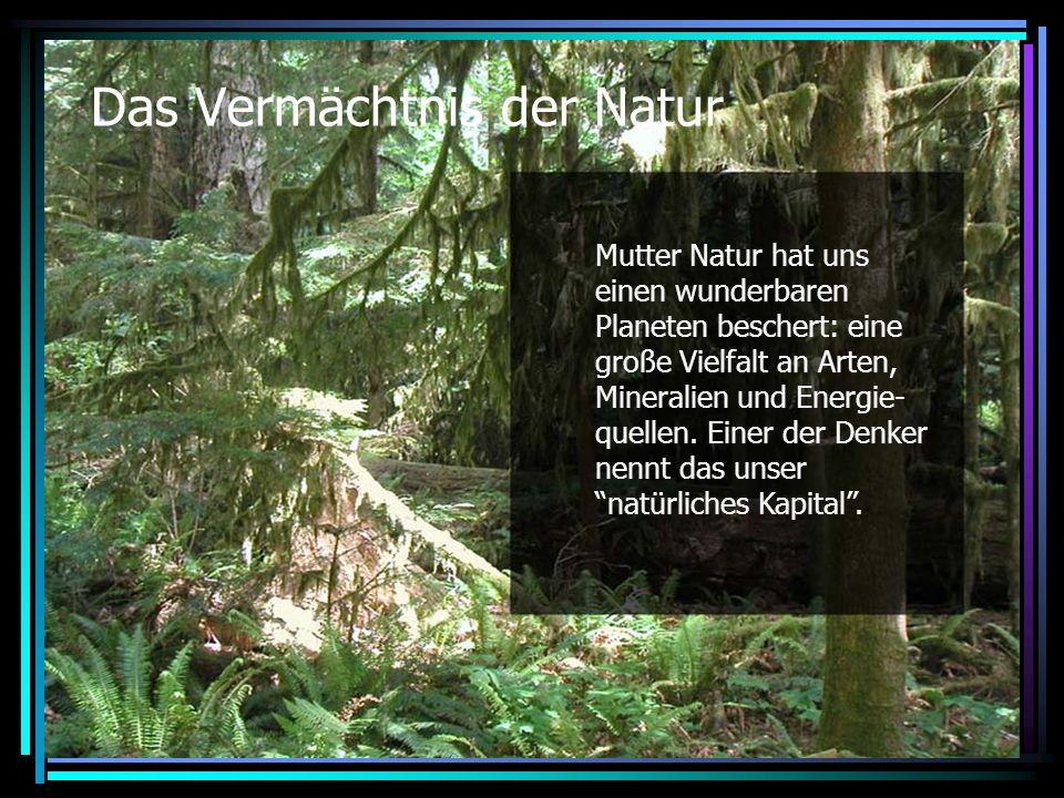 Das Vermächtnis der Natur Mutter Natur hat uns einen wunderbaren Planeten beschert: eine große Vielfalt an Arten, Mineralien und Energie- quellen.