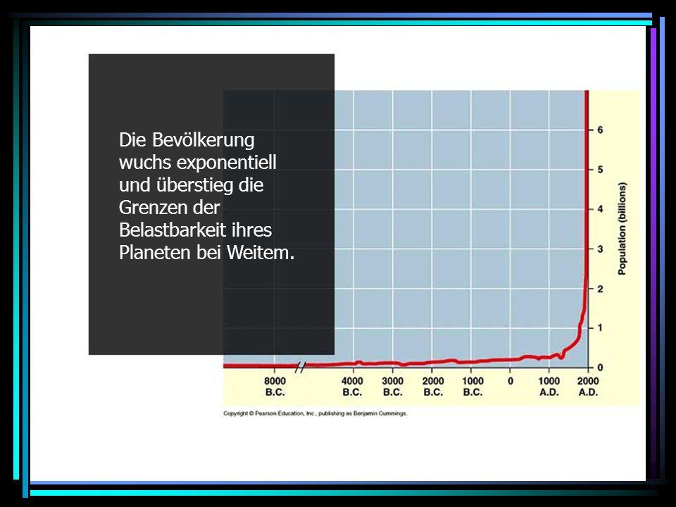 Exponential growth Die Bevölkerung wuchs exponentiell und überstieg die Grenzen der Belastbarkeit ihres Planeten bei Weitem.
