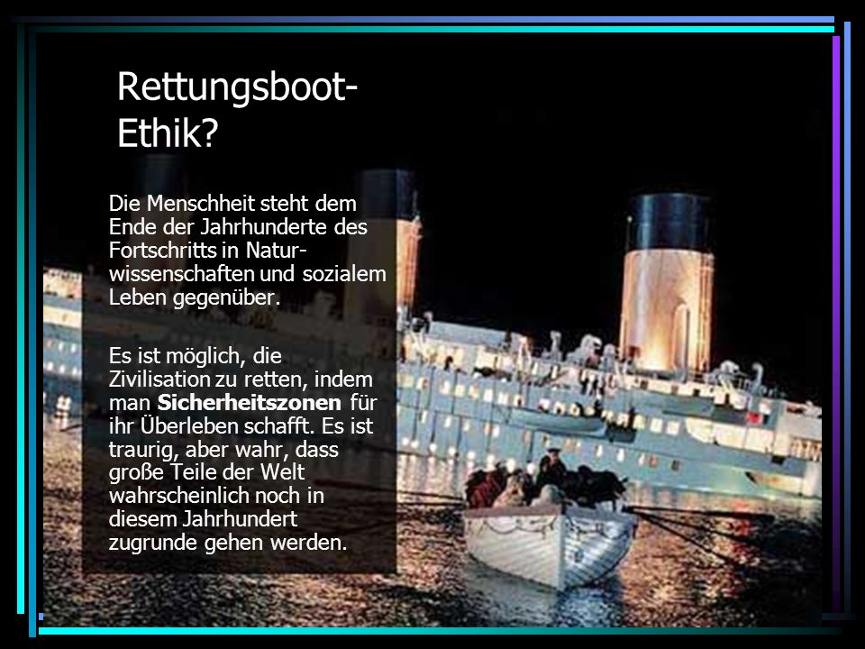 Rettungsboot- Ethik.