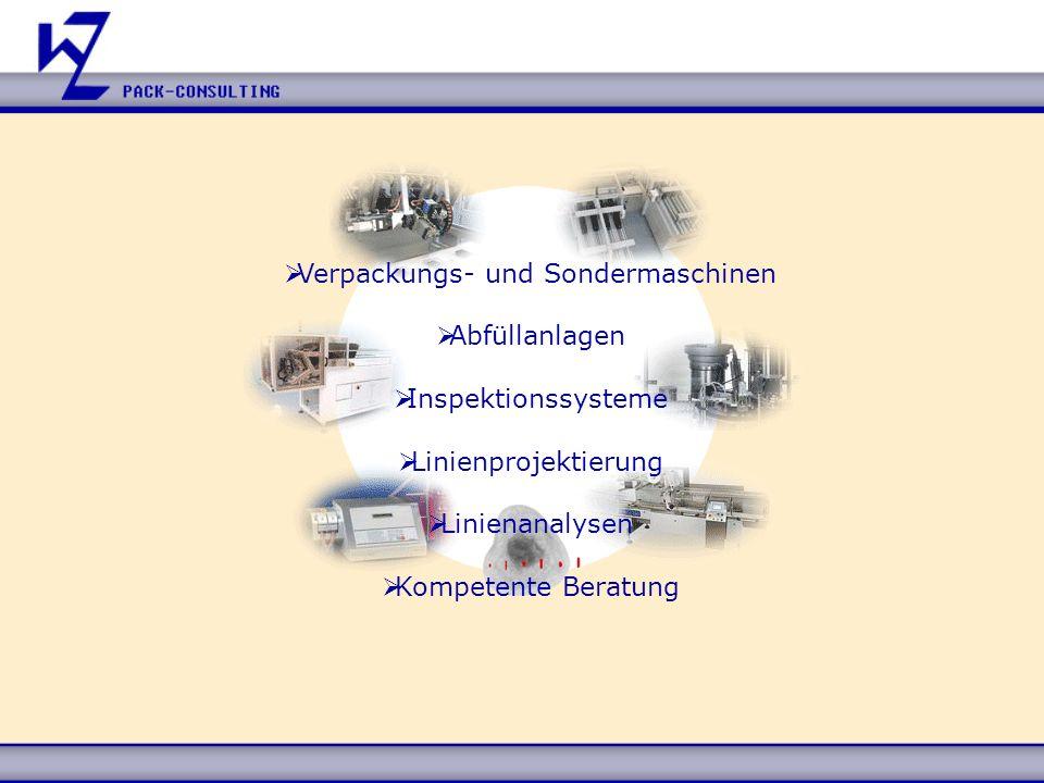 Verpackungs- und Sondermaschinen Abfüllanlagen Inspektionssysteme Linienprojektierung Linienanalysen Kompetente Beratung