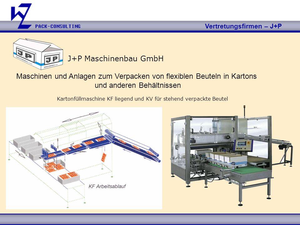 Vertretungsfirmen – J+P J+P Maschinenbau GmbH Maschinen und Anlagen zum Verpacken von flexiblen Beuteln in Kartons und anderen Behältnissen Kartonfüll