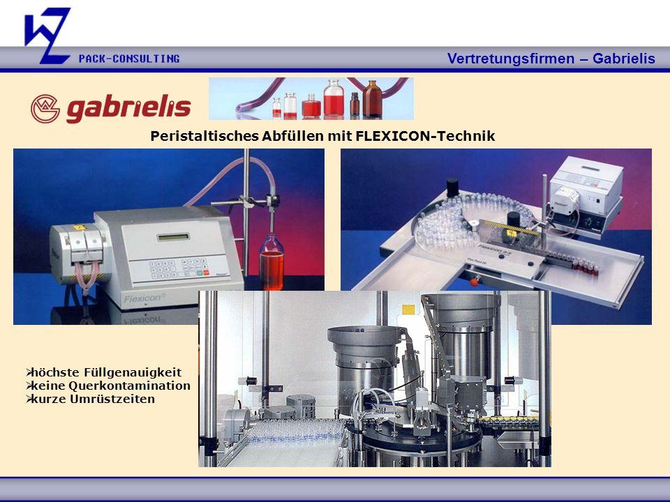 Vertretungsfirmen – Gabrielis höchste Füllgenauigkeit keine Querkontamination kurze Umrüstzeiten Peristaltisches Abfüllen mit FLEXICON-Technik