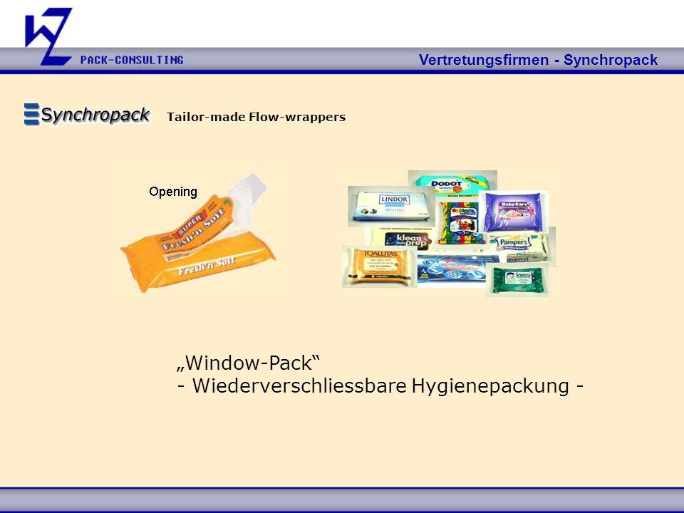 Vertretungsfirmen - Synchropack Tailor-made Flow-wrappers Window-Pack - Wiederverschliessbare Hygienepackung -