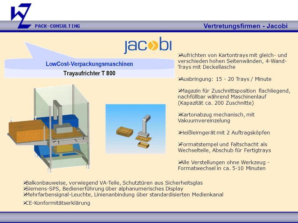 Vertretungsfirmen - Jacobi Technische Daten: L x B x H mm Formatbereich max.Fertigtray400 x 300 x 200 Zuschnitt800 x 700 Formatbereich min.Fertigtray100 x 80 x 20 Zuschnitt140 x 120 Anschlusswerte - Elektrik 400 V, 3 ph, 50 Hz, 6-10 KVA - Pneumatik Betriebsdruck 6 bar Arbeitshöhe (ca.-Maße) 1.000 mm, Abgabehöhe 500 mm, Bodenfreiheit 150 mm