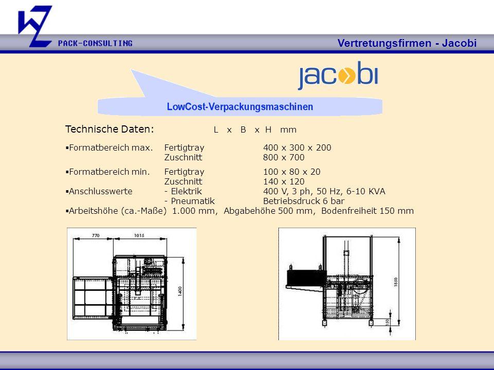 Vertretungsfirmen - Jacobi Technische Daten: L x B x H mm Formatbereich max.Fertigtray400 x 300 x 200 Zuschnitt800 x 700 Formatbereich min.Fertigtray1