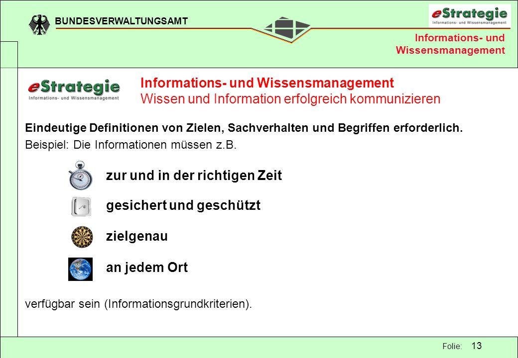 BUNDESVERWALTUNGSAMT 13 Folie: Informations- und Wissensmanagement Wissen und Information erfolgreich kommunizieren Eindeutige Definitionen von Zielen
