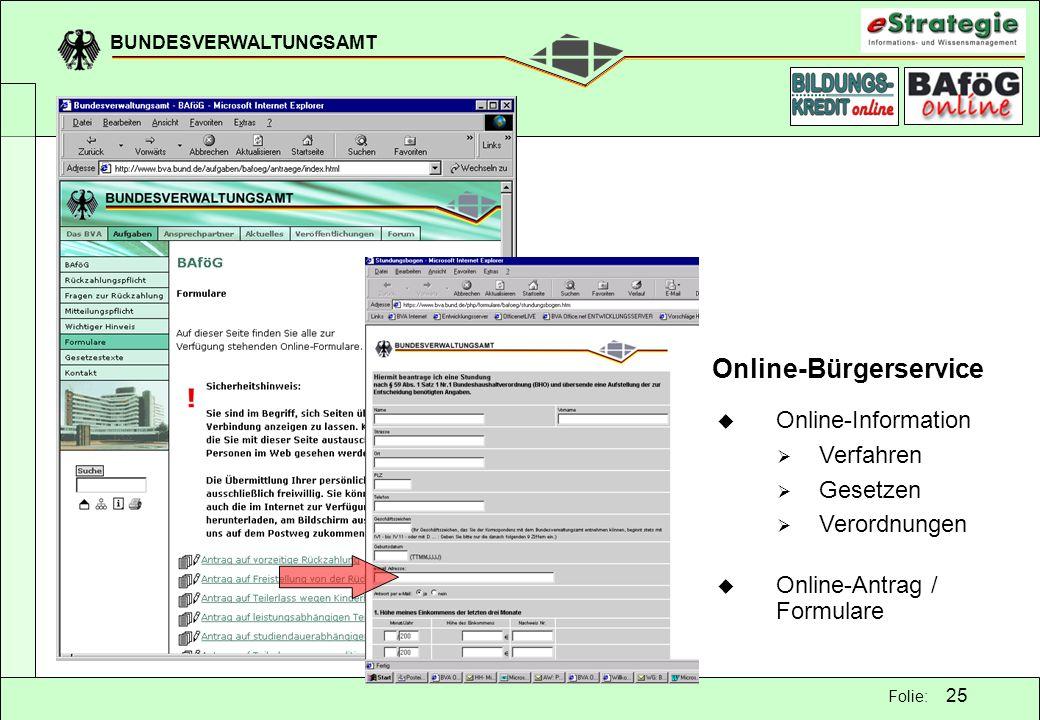 BUNDESVERWALTUNGSAMT 25 Folie: Online-Bürgerservice Online-Information Verfahren Gesetzen Verordnungen Online-Antrag / Formulare