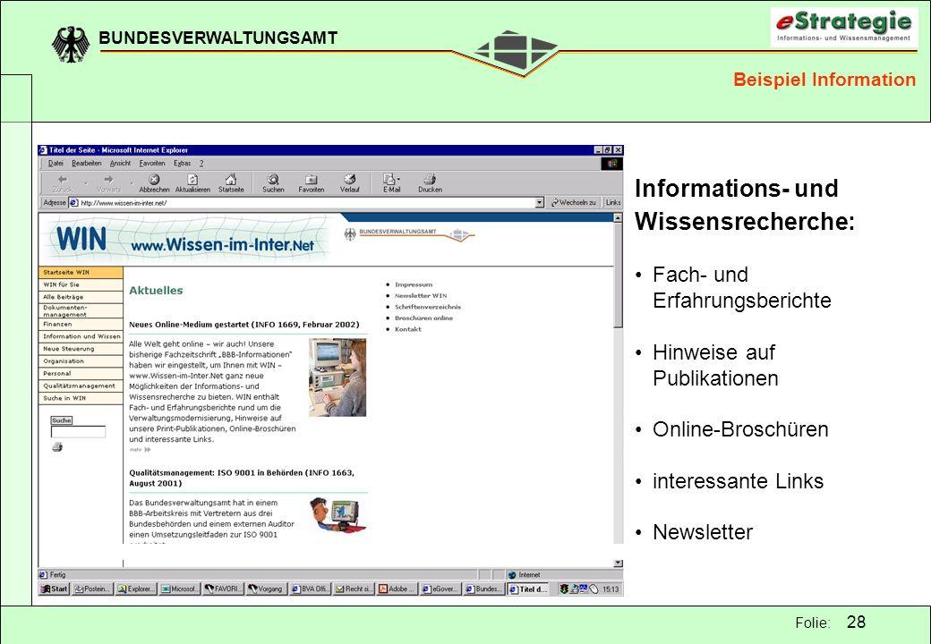 BUNDESVERWALTUNGSAMT 28 Folie: Informations- und Wissensrecherche: Fach- und Erfahrungsberichte Hinweise auf Publikationen Online-Broschüren interessa