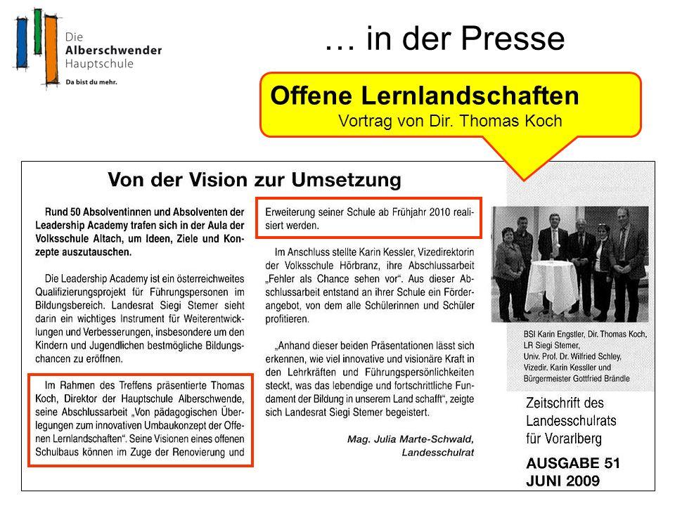 … in der Presse Offene Lernlandschaften Vortrag von Dir. Thomas Koch