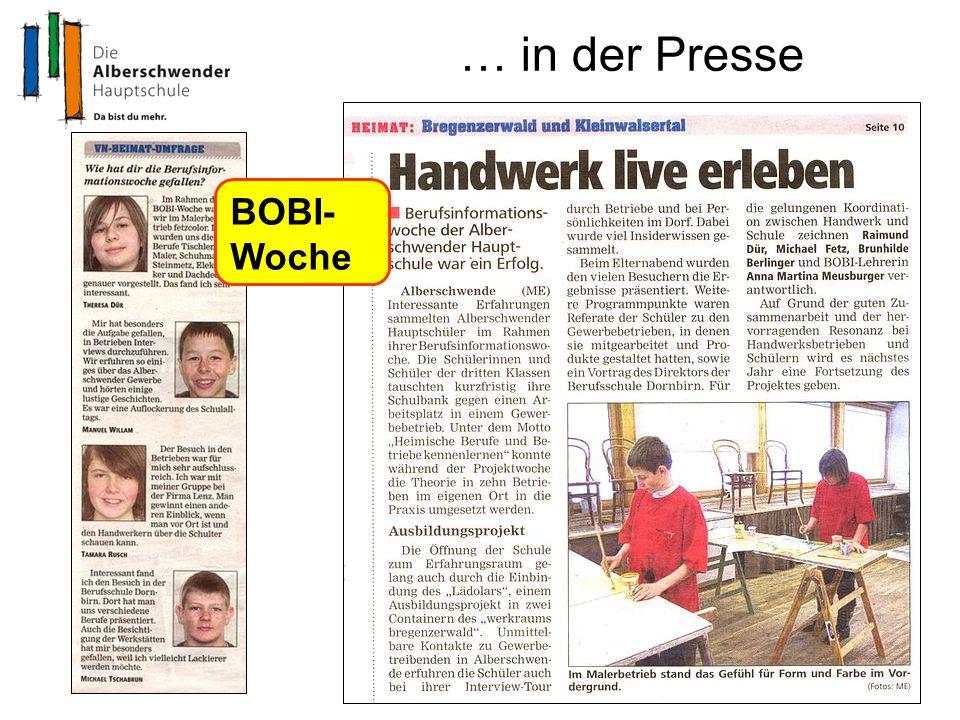 … in der Presse BOBI- Woche