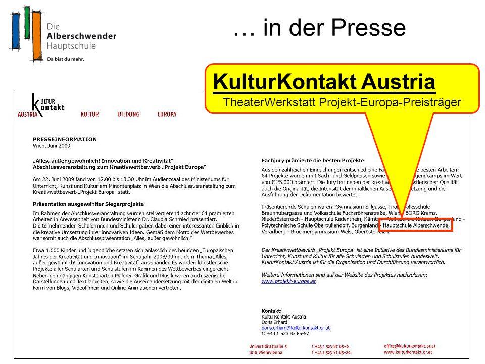 … in der Presse KulturKontakt Austria TheaterWerkstatt Projekt-Europa-Preisträger