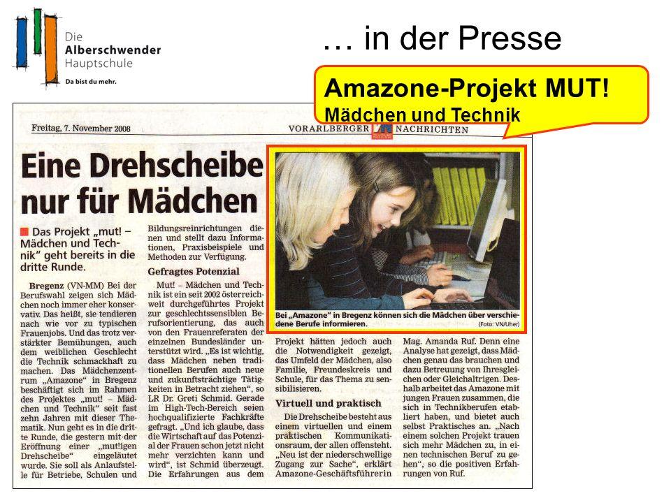 … in der Presse Amazone-Projekt MUT! Mädchen und Technik