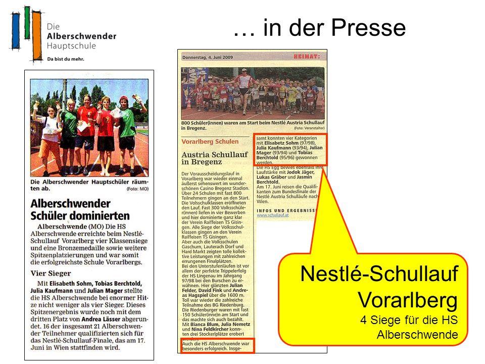 … in der Presse Nestlé-Schullauf Vorarlberg 4 Siege für die HS Alberschwende