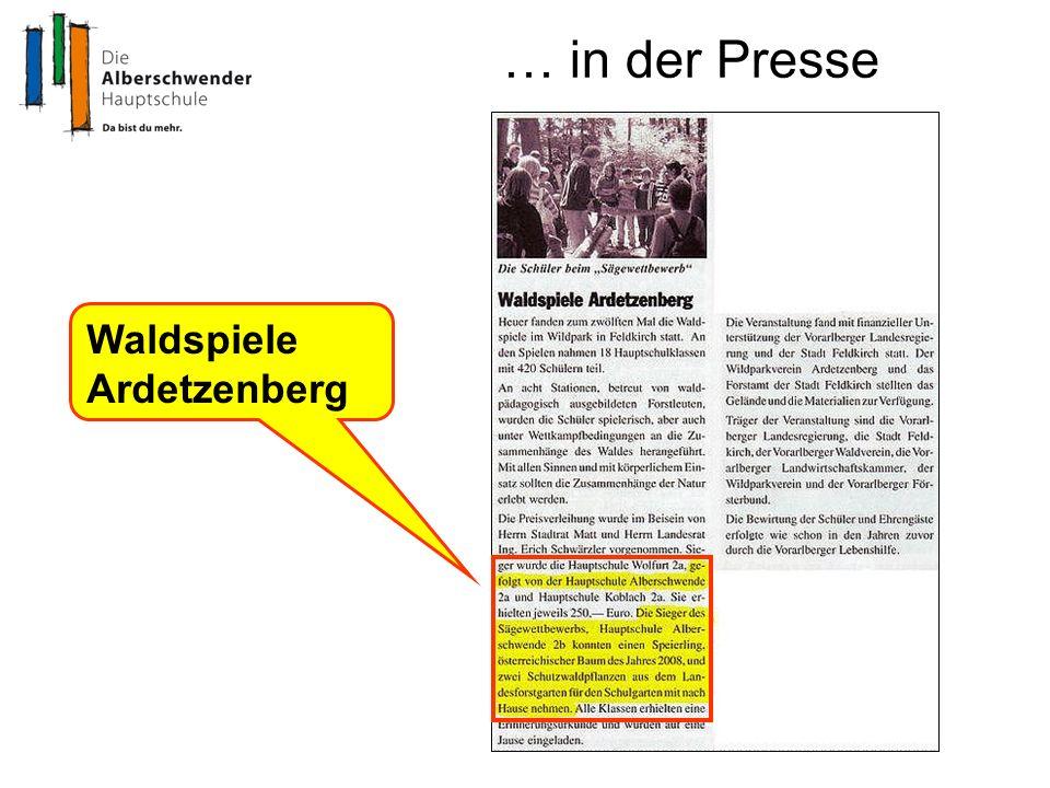 … in der Presse Waldspiele Ardetzenberg