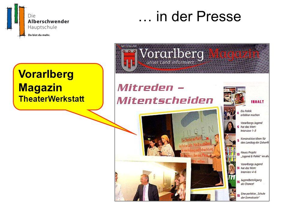 … in der Presse Vorarlberg Magazin TheaterWerkstatt
