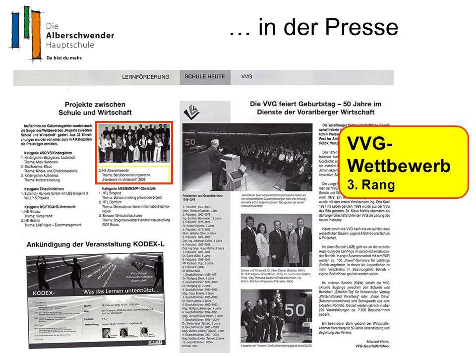 … in der Presse VVG- Wettbewerb 3. Rang