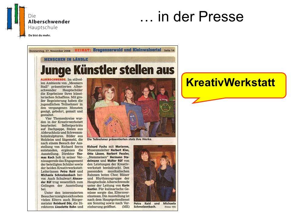 … in der Presse KreativWerkstatt