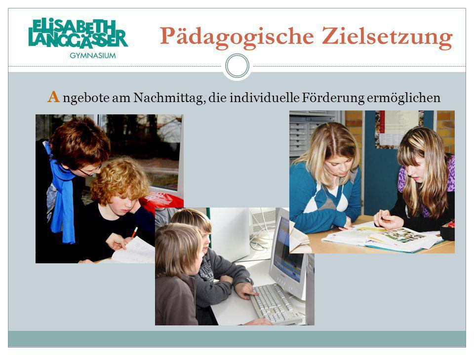 Pädagogische Zielsetzung A ngebote am Nachmittag, die individuelle Förderung ermöglichen