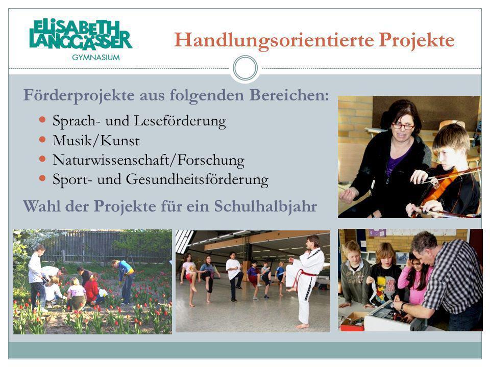 Handlungsorientierte Projekte Förderprojekte aus folgenden Bereichen: Sprach- und Leseförderung Musik/Kunst Naturwissenschaft/Forschung Sport- und Ges
