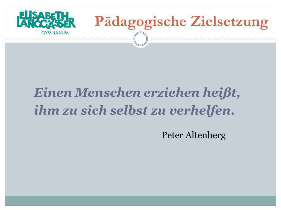 Pädagogische Zielsetzung Einen Menschen erziehen heißt, ihm zu sich selbst zu verhelfen. Peter Altenberg