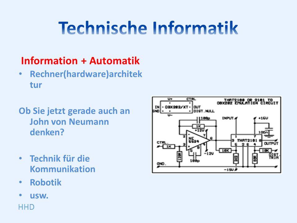 Information + Automatik Rechner(hardware)architek tur Ob Sie jetzt gerade auch an John von Neumann denken? Technik für die Kommunikation Robotik usw.