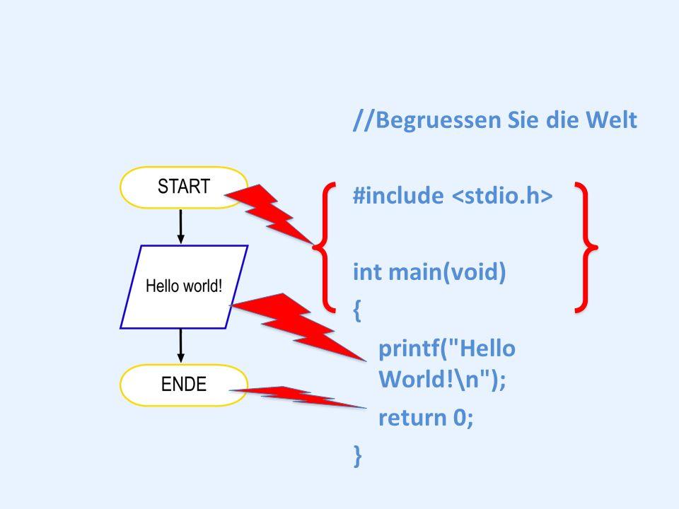 //Begruessen Sie die Welt #include int main(void) { printf(