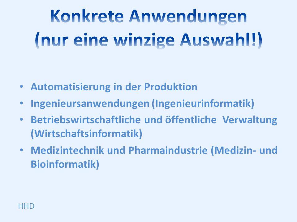 Automatisierung in der Produktion Ingenieursanwendungen (Ingenieurinformatik) Betriebswirtschaftliche und öffentliche Verwaltung (Wirtschaftsinformati
