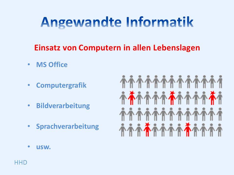 Einsatz von Computern in allen Lebenslagen MS Office Computergrafik Bildverarbeitung Sprachverarbeitung usw. HHD