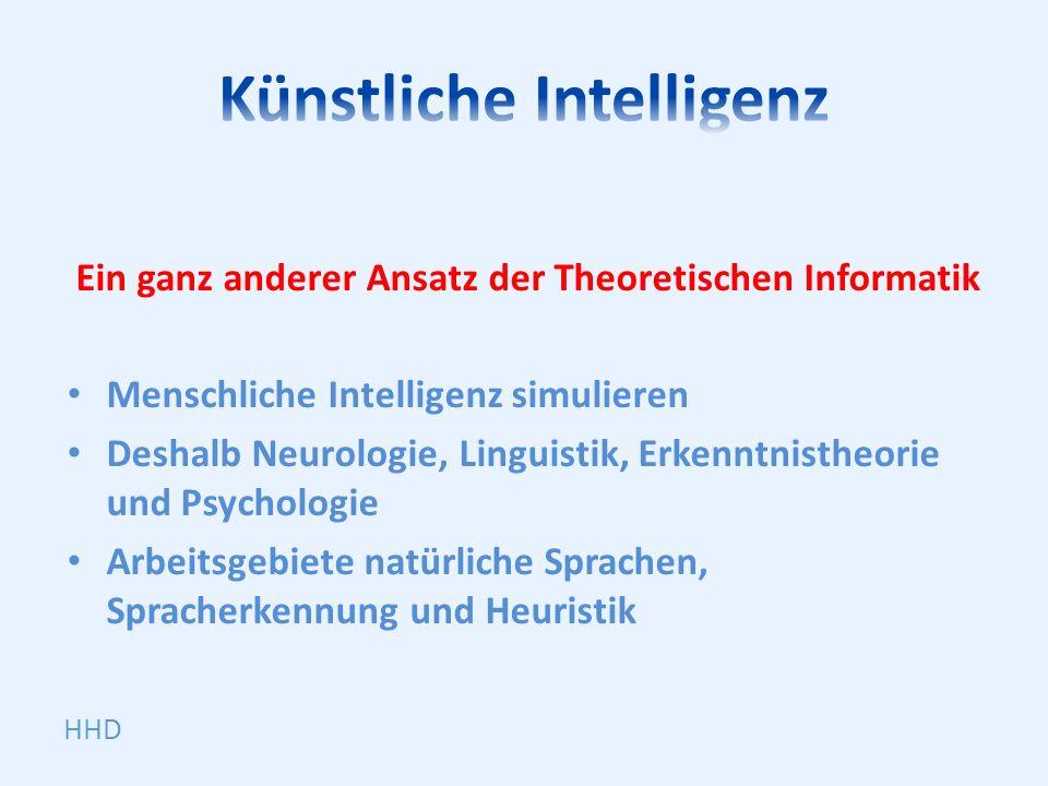 Ein ganz anderer Ansatz der Theoretischen Informatik Menschliche Intelligenz simulieren Deshalb Neurologie, Linguistik, Erkenntnistheorie und Psycholo
