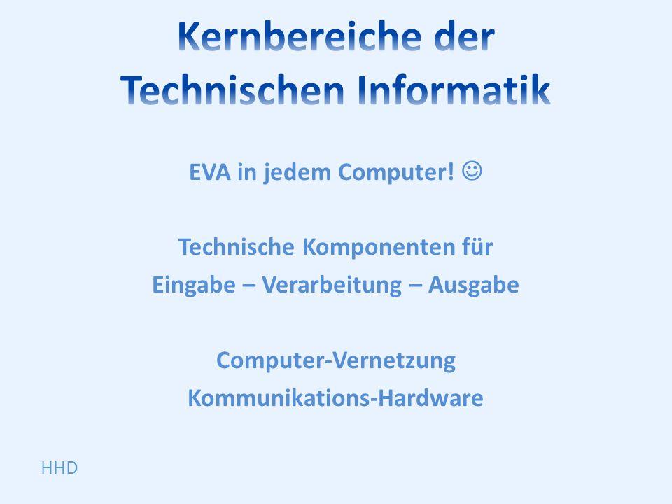 EVA in jedem Computer! Technische Komponenten für Eingabe – Verarbeitung – Ausgabe Computer-Vernetzung Kommunikations-Hardware