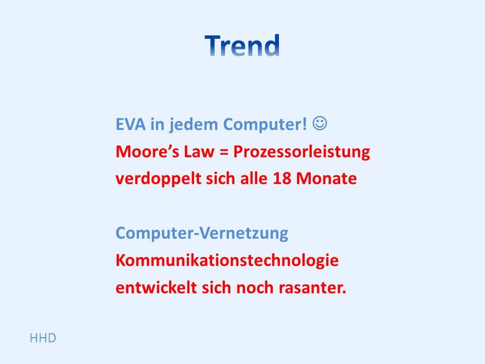 EVA in jedem Computer! Moores Law = Prozessorleistung verdoppelt sich alle 18 Monate Computer-Vernetzung Kommunikationstechnologie entwickelt sich noc