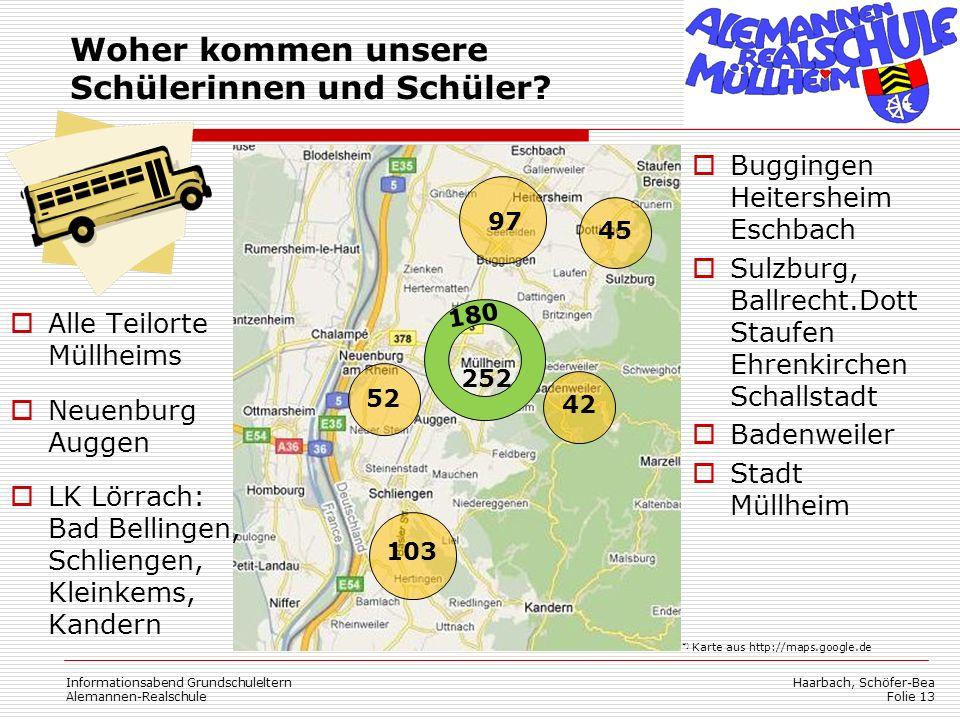 Haarbach, Schöfer-Bea Folie 13 Woher kommen unsere Schülerinnen und Schüler? Buggingen Heitersheim Eschbach Sulzburg, Ballrecht.Dott Staufen Ehrenkirc