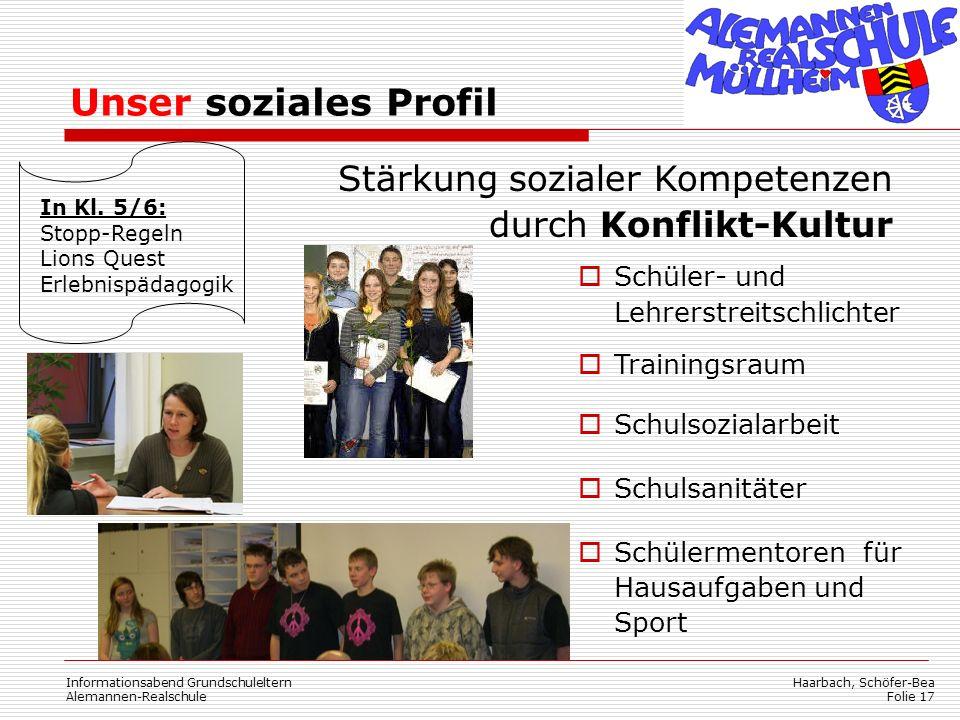 Haarbach, Schöfer-Bea Folie 17 In Kl. 5/6: Stopp-Regeln Lions Quest Erlebnispädagogik Schüler- und Lehrerstreitschlichter Trainingsraum Schulsozialarb