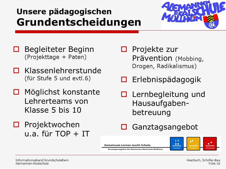 Haarbach, Schöfer-Bea Folie 18 Begleiteter Beginn (Projekttage + Paten) Klassenlehrerstunde (für Stufe 5 und evtl.6) Möglichst konstante Lehrerteams von Klasse 5 bis 10 Projektwochen u.a.