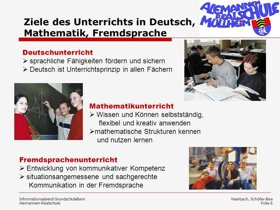 Haarbach, Schöfer-Bea Folie 6 Informationsabend Grundschuleltern Alemannen-Realschule Deutschunterricht sprachliche Fähigkeiten fördern und sichern De