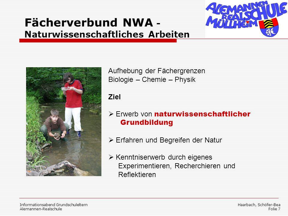 Haarbach, Schöfer-Bea Folie 8 Informationsabend Grundschuleltern Alemannen-Realschule Fächerverbund EWG - Erdkunde-Wirtschaftskunde-Gemeinschaftskunde Unsere komplexe Welt erfordert zunehmend ein vernetztes und über die Fächergrenzen hinausgehendes Denken.