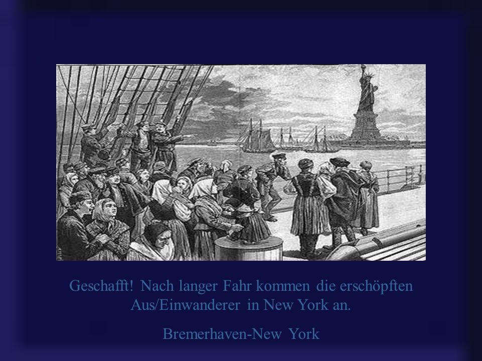 Die Bremerhavener Columbuskaje - das Sinnbild deutscher Auswanderung nach Amerika. Im Hintergrund: Schnelldampfer