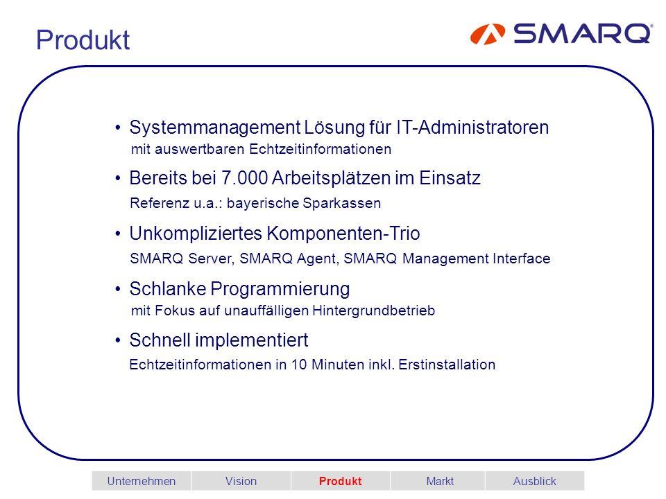 Produkt Systemmanagement Lösung für IT-Administratoren mit auswertbaren Echtzeitinformationen Bereits bei 7.000 Arbeitsplätzen im Einsatz Referenz u.a