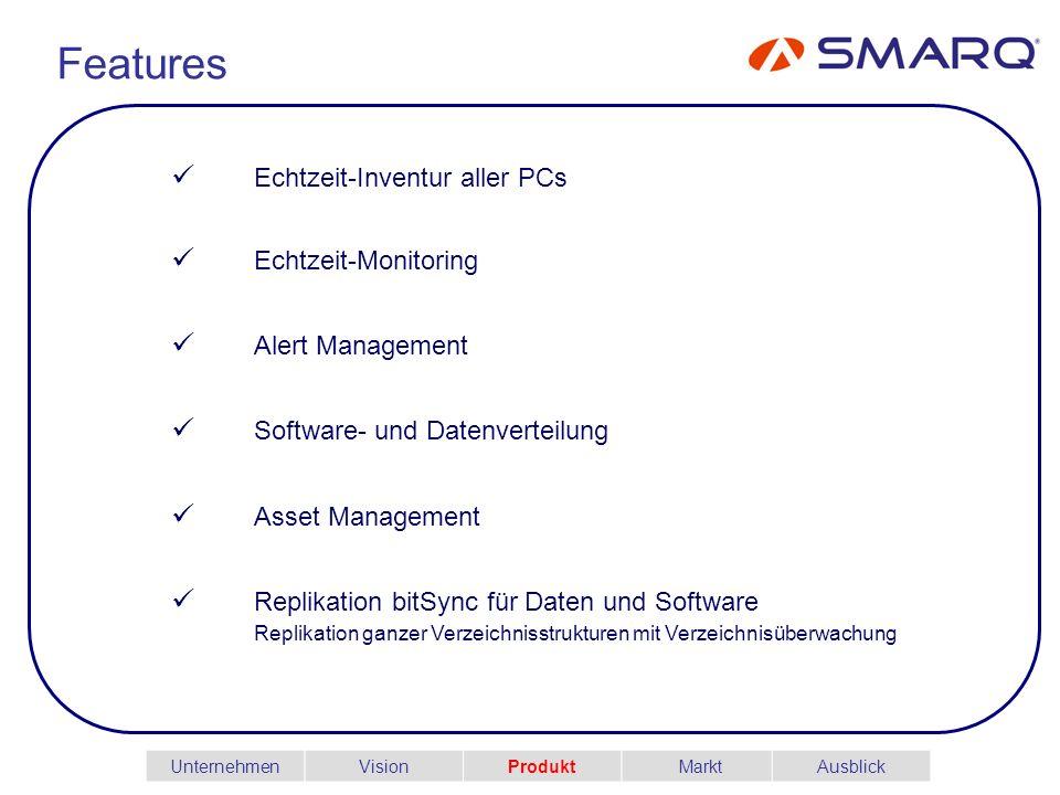 Features Echtzeit-Inventur aller PCs Echtzeit-Monitoring Alert Management Software- und Datenverteilung Asset Management Replikation bitSync für Daten