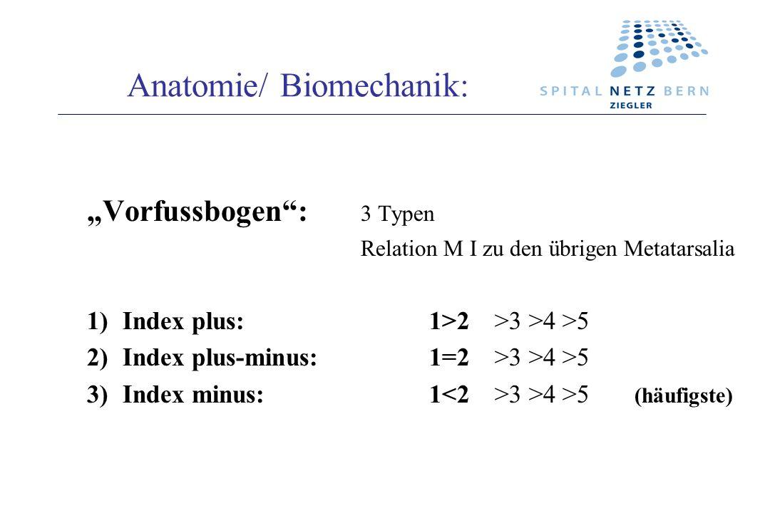 Anatomie/ Biomechanik: Vorfussbogen: 3 Typen Relation M I zu den übrigen Metatarsalia 1)Index plus:1>2 >3 >4 >5 2)Index plus-minus:1=2 >3 >4 >5 3)Inde