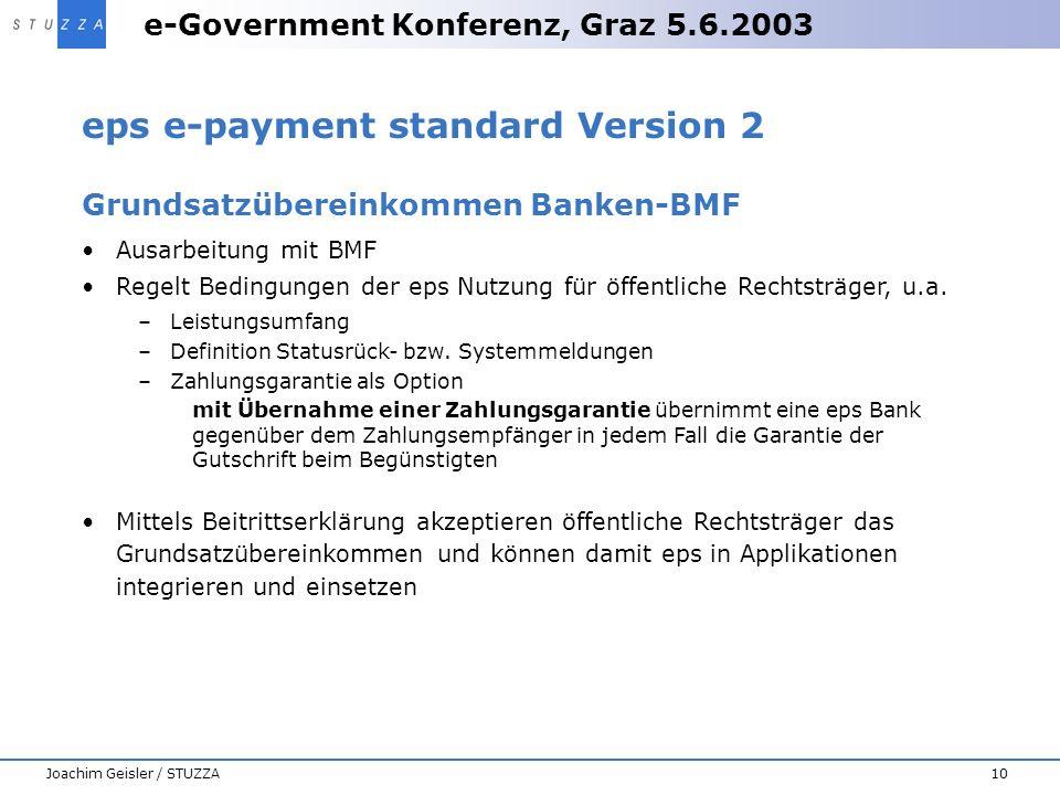 e-Government Konferenz, Graz 5.6.2003 10Joachim Geisler / STUZZA eps e-payment standard Version 2 Grundsatzübereinkommen Banken-BMF Ausarbeitung mit B