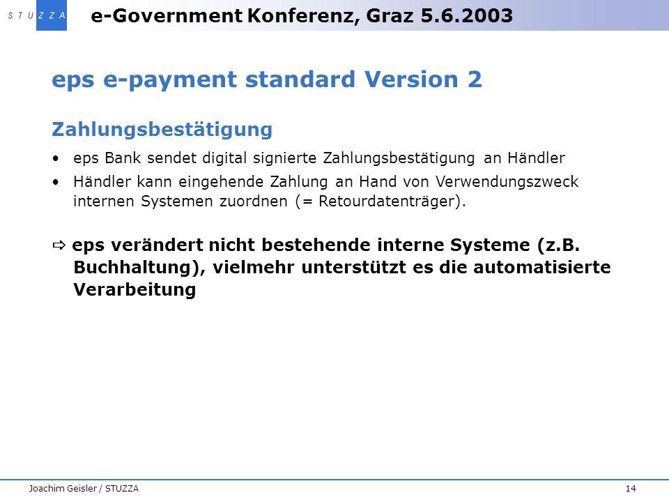 e-Government Konferenz, Graz 5.6.2003 14Joachim Geisler / STUZZA eps e-payment standard Version 2 Zahlungsbestätigung eps Bank sendet digital signiert