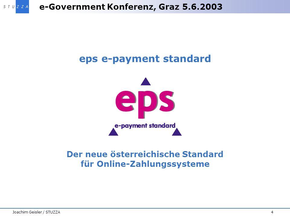e-Government Konferenz, Graz 5.6.2003 4Joachim Geisler / STUZZA eps e-payment standard Der neue österreichische Standard für Online-Zahlungssysteme
