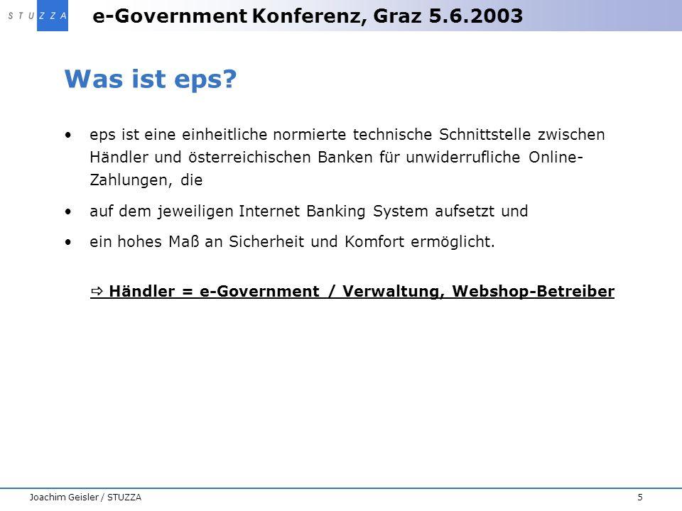 e-Government Konferenz, Graz 5.6.2003 5Joachim Geisler / STUZZA Was ist eps? eps ist eine einheitliche normierte technische Schnittstelle zwischen Hän