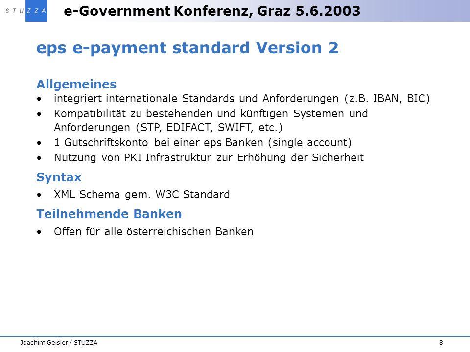 e-Government Konferenz, Graz 5.6.2003 8Joachim Geisler / STUZZA eps e-payment standard Version 2 Allgemeines integriert internationale Standards und A